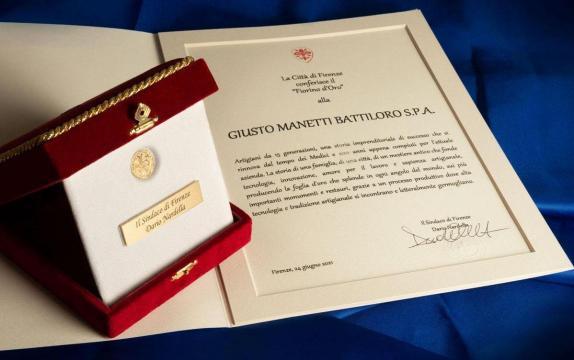 Firenze, il Fiorino d'Oro 2021 a Giusto Manetti Battiloro Spa